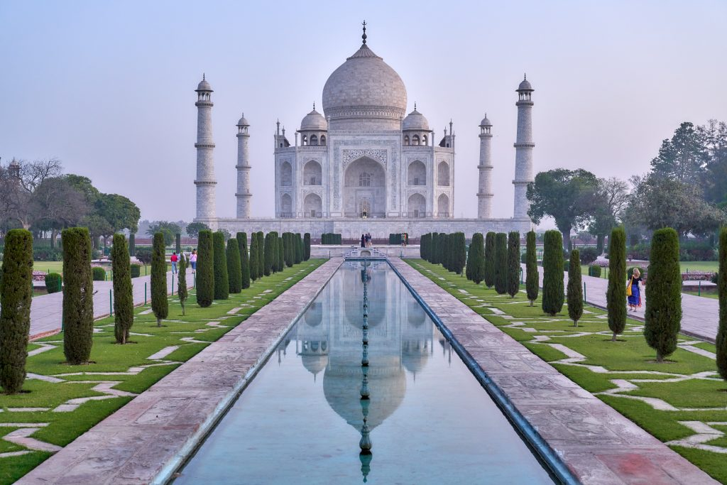 A marble building of Taj Mahal in Agra, India